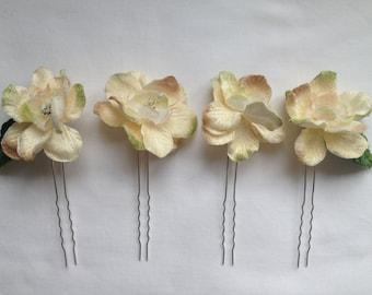 Ivory Delphinium Flower Hairpins