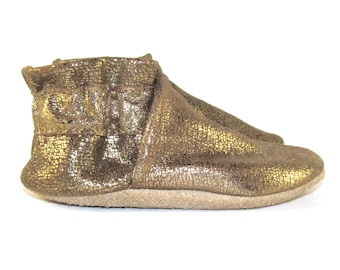 Soft Sole, Gold Metallic, Leather Baby Shoes, Moccs, 6 to 12 Month, Eco Friendly