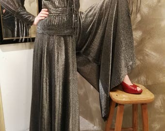 Gorgeous years 70 3-piece glitter pants suit from Louis féraud size S
