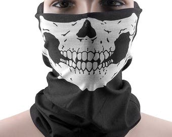 Skeleton Scarf Biker Neck Warmer Skeleton White Black Scarf Women's Scarf Men's Scarf Skull Punisher Winter Scarf Neck Warmer Face Mask
