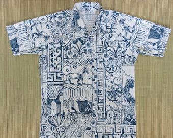 Vintage Hawaiian Shirt 1970s RESORT WARE by Rialo Egyptian Goddess Bohemian Print Mod Psychedelic Hipster Mens - M- Oahu Lew's Shirt Shack