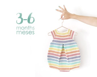Size 3-6 months- Rainbow Romper PDF Knitting Pattern- Instant Download