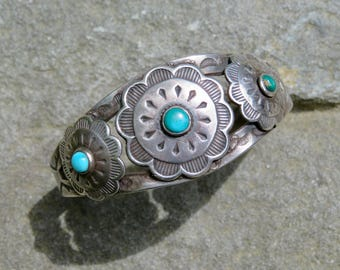 Turquoise Jewelry,Fred Harvey Style,Fred Harvey Jewelry,Native American Turquoise,Navajo Turquoise,Turquoise Bracelet,Turquoise Silver Cuff