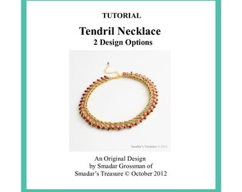 Beading Tutorial Pattern, Tendril Necklace in 2 Variations. How to Bead. Jewelry Making. Beading Necklace with Seeds and Fire Polished Bead