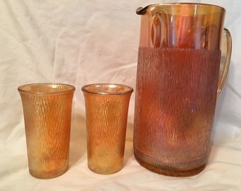 Carnival glass marigold tree bark jeanette cider/tea pitcher and 2 tumblers