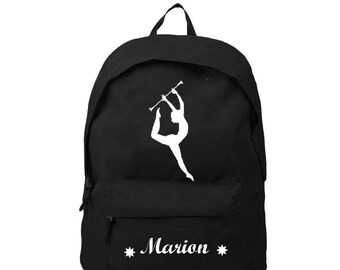 Backpack black cheerleader personalized with name