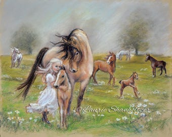 """ORIGINAL pastel painting """"Dreams of Horses"""" wall art, girl 's love of horses  Laurie Shanholtzer"""