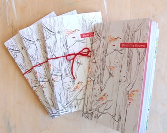 "Art Book - ""Birds I've Known"" - bird watercolor illustration art zine booklet"