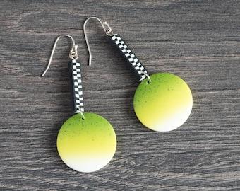 Lime green earrings silver, Dangle earrings lime green, Silver green earrings, Handmade, Drop lime green earrings, Green silver earrings