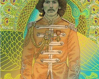 George Harrison Sgt. Pepper portrait in 3 sizes; drawing by Kathy Rooney