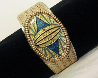 Art Deco Beadwoven Bracelet . Mesh Cuff . Gold and Blue . Statement Cuff . Geometric Jewelry OOAK - Art Deco Jewelry by enchantedbeas on Ets