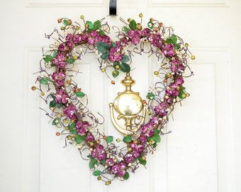 Plum Heart Wreath Spring wreath Heart shaped wreath for Spring or Fall Purple Plum wreath Year round decor Front door wreath