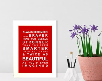 A5 unframed Always Remember - Typography Bus Roll Wall Art Poster / Print