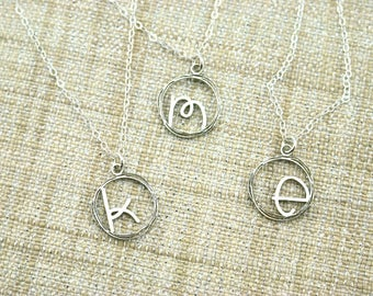 Initial Necklace - Custom Initial Jewelry -  Mom Gift - Silver Initial Necklace
