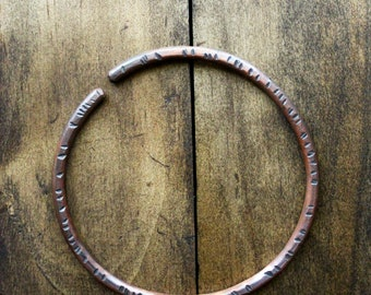oxidized handforged copper bangle