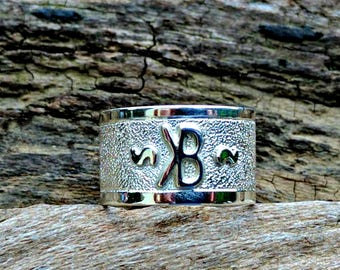 Silver Brand Ring, Custom Brand Ring, Cow Brand Jewelry, Cattle Brand, Western Jewelry, Cowboy Cowgirl, Cattle Brand Jewelry, Wide Band