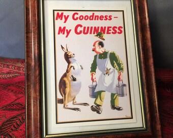 Vintage Guinness Framed Postcard