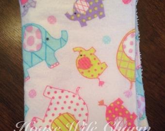 Pink elephant burp cloth- Ready to Ship!