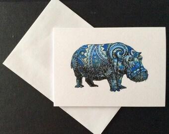 Paisley Hippo Card