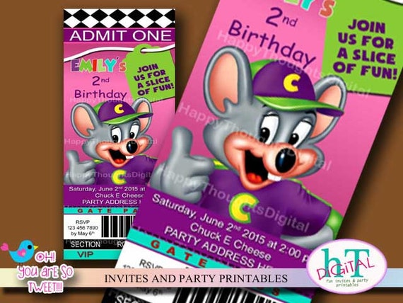 Chuck E Cheese Ticket Style Invitation Birthday Printable