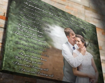 Custom his and hers vows, wedding vow art, wedding vows framed, vows canvas, framed song lyrics, anniversary gifts for boyfriend, vow art