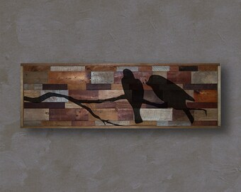 Reclaimed Barnwood Wall Art - Pair of Birds