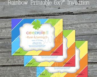 St Patrick's Day Birthday Invite   St Paddys Day Invitation   Rainbow Birthday   St. Patrick's Day Digital Invitation   Shamrock Birthday