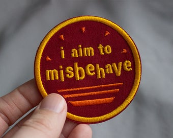 """Firefly Inspired I Aim to Misbehave 2.5"""" Iron On Embroidered Patch"""