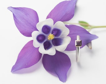 AMETHYST cocktail ring kl. Princess cut, silver, 18kt yellow gold, friendship ring, engagement, ring, Combi, purple, purple gold ring
