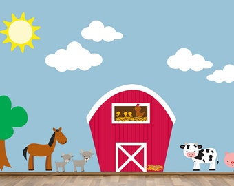 Farm Wall Decal Reusable, Kids Farm Decal, 320  LARGE