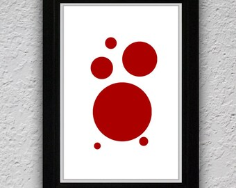 Red Circle Print, Red Art Print, Instant Digital Download Fine Art Printable Art, Minimalist Art Decor, Circle Print, Red Wall Art PRINT 39