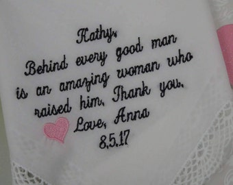 Grooms Mother Wedding Handkerchief - Embroidered Handkerchief - Wedding Gift - Mother In Law Gift