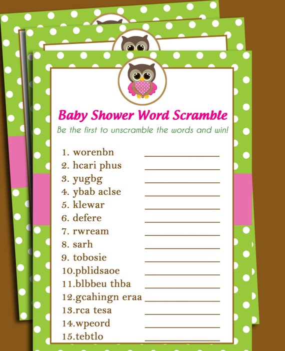 50% OFF SALE Owl Baby Shower Word Scramble Printable