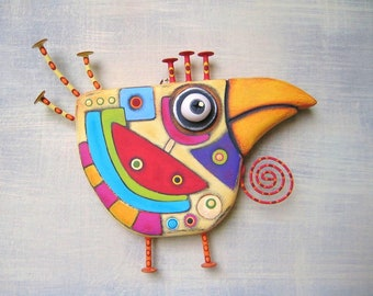 Art Chicken, Bird Wall Art, Original Found Object Wall Sculpture, Wood Carving, Abstract Art, by Fig Jam Studio