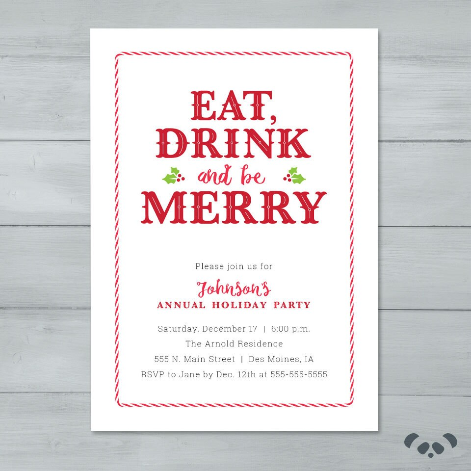 Holiday Party Invitation Eat Drink and Be Merry Holiday