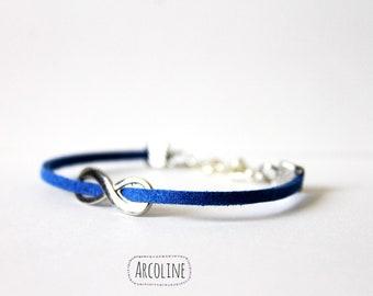 Blue Suede infinity bracelet