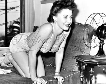 1940s RISQUE PIN UP - Woman Lingerie High Heels, Vintage Photograph, Retro Wall Art, Black and White Photography, Pinup, Instant Download