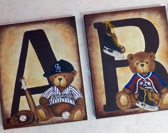 8'x10' Personalized Original Paintings Custom Canvas Wall Art Name Letters All Sports Baseball Football Hockey Basketball Teddy Bears