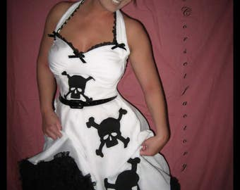 Rockabilly, Pinup, Goth Black and White Skull dress