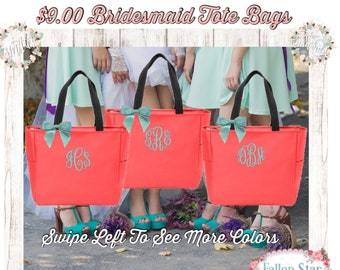 1 Bridesmaid ZIPPER tote bag , bridesmaid gifts , tote bag with ZIPPER , beach bag , bachelorette party gift , wedding tote bags