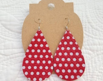 Genuine Leather Teardrop Earrings in Red with White Polka Dot
