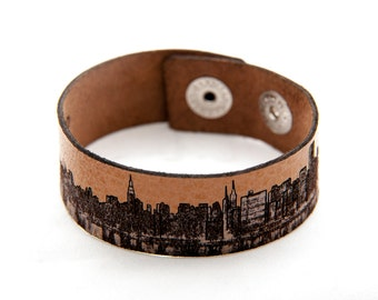 New York City skyline laser cut leather bracelet