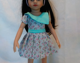 """13"""" doll, pleaded skirt, top and hair bow set, fits 13"""" little darlings and mini pals"""
