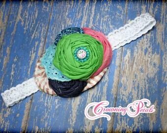 Navy Blue, Pink, Green, Aqua Headband, M2M Cake Walk Tank Dress, Matilda Jane Wonderful Parade Bow, Hair Piece, Hair Clip, Hair Accessories