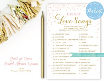 Pink and Gold Bridal Shower Games . Disney Love Songs Bridal Shower Game . Printable Instant Download . Gold Glitter Pink Confetti Hearts