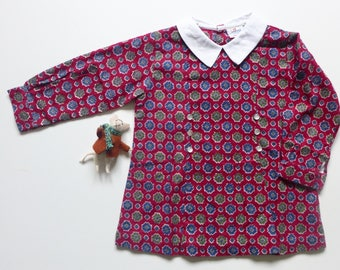New Old Stock - Vintage Girls Long Sleeved Shift Dress with White Peter Pan Collar - Cherry Red Mix - Ages 2/3, 3/4 & 4/5
