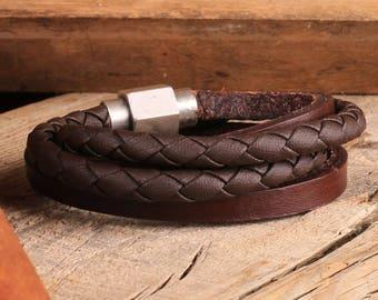 Mens Leather Bracelet, Stainless Steel Magnetic Clasp, Mens Bracelet, Mens Jewelry, Leather Bracelet, Gift for Valentine's