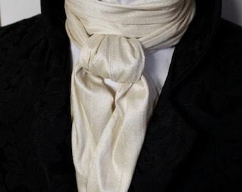 Long Cream REGENCY Brummel Victorian Ascot Tie Cravat - Dupioni Silk 6 inch width