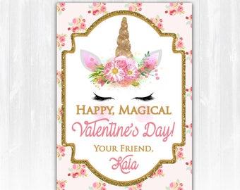 Kids Valentines Cards Unicorn Valentines Cards Kid's Valentine's Day Cards Pony Valentines Cards Custom Valentines Cards for School