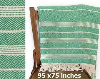 Summer Blanket Bedspread Turkish Throw Blanket Cotton Sofa Throw Furniture Throw Turkish Blanket Cotton Throw Green XX LARGE 240 x 190 cm